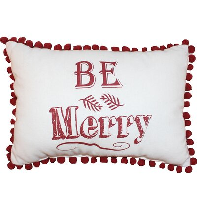 Vintage House Be Merry 100% Cotton Lumbar Pillow