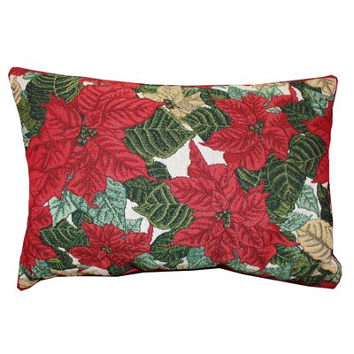 Vintage House Scroll Poinsettia Lumbar Pillow