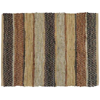 Rojas Stripe Hand-Woven Suede Area Rug