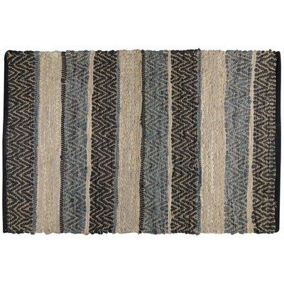 Rojas Stripe Hand-Woven Cotton Denim/Beige/Black Area Rug