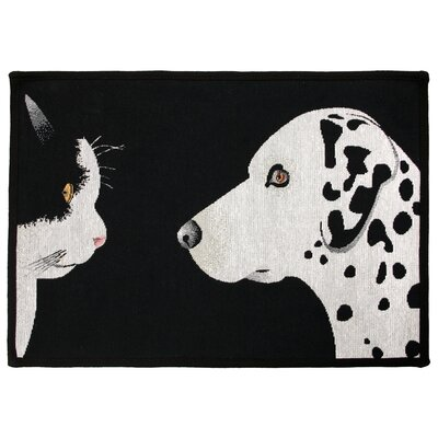 PB Paws & Co. Black / White Best Friends Tapestry Area Rug Rug Size: 17 x 23