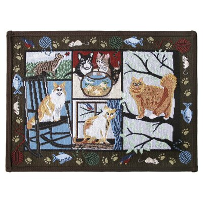 PB Paws & Co. Woodland Cat Days Tapestry Area Rug Rug Size: 11 x 17