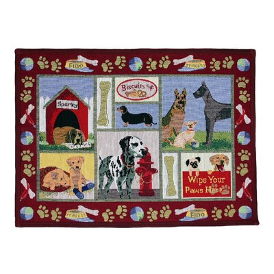 PB Paws & Co. Moroccan Red Dog Days Tapestry Area Rug Rug Size: 17 x 23