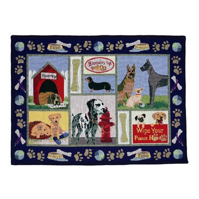 PB Paws & Co. Navy Dog Days Tapestry Area Rug Rug Size: 17 x 23