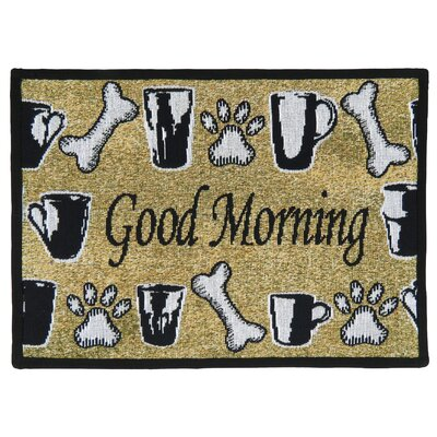 PB Paws & Co. Sand / Black Good Morning Tapestry Area Rug Rug Size: Rectangle 17 x 11