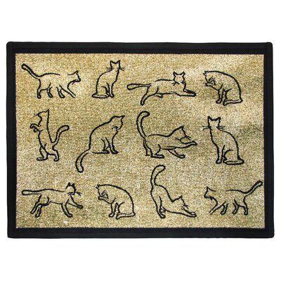PB Paws & Co. Gold / Black Kitten Fun Tapestry Area Rug Rug Size: 11 x 17