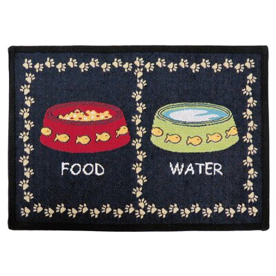 PB Paws & Co. Black Kitty Meal Tapestry Area Rug Rug Size: 11 x 17