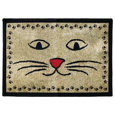 PB Paws & Co. Gold / Black Kitty Whiskers Tapestry Area Rug Rug Size: 11 x 17