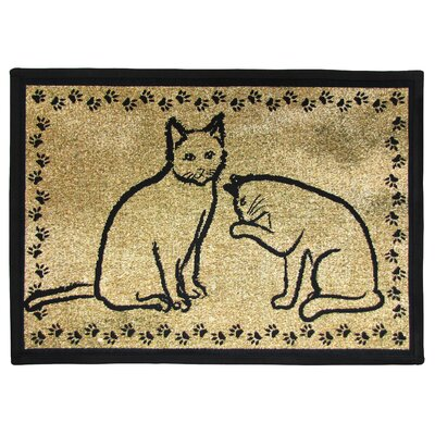 PB Paws & Co. Gold & Black Kitty Pals Tapestry Indoor/Outdoor Area Rug Rug Size: 11 x 17