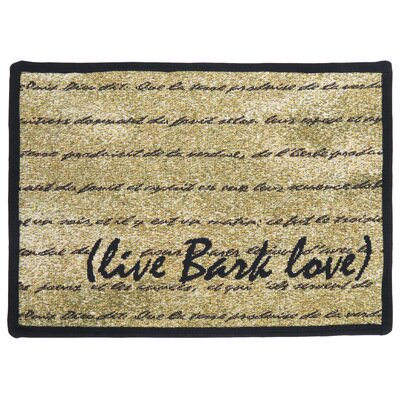 PB Paws & Co. Gold / Black Live Bark Love Tapestry Area Rug Rug Size: 11 x 17