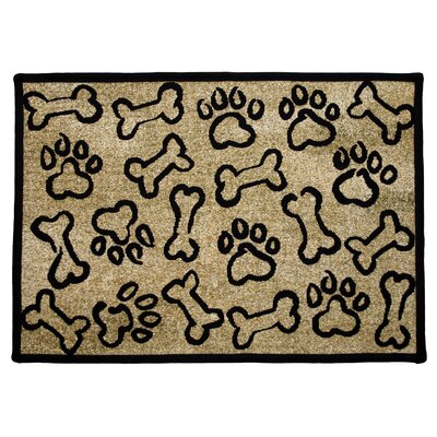 PB Paws & Co. Gold Puppy Paws Tapestry Indoor/Outdoor Area Rug Rug Size: 11 x 17