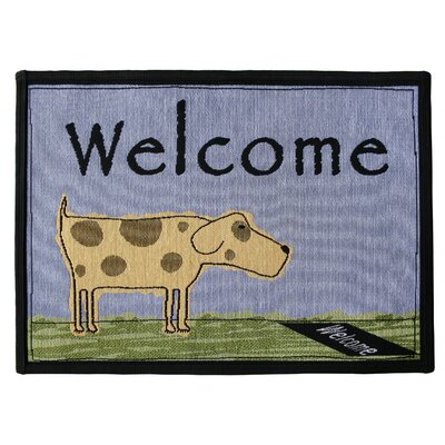 PB Paws & Co. Blue Water Welcome Dog Tapestry Area Rug Rug Size: 23 x 17