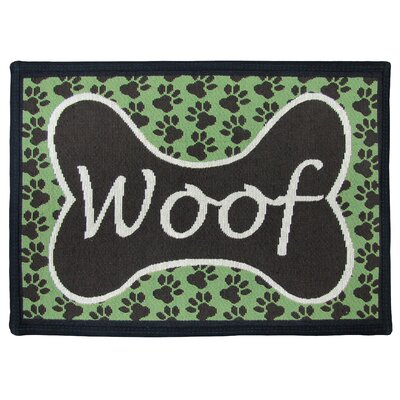 PB Paws & Co. Coffeebean / Pesto Woof Tapestry Area Rug Rug Size: Rectangle 11 x 17