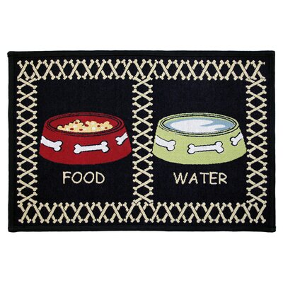 PB Paws & Co. Black Meal Time Tapestry Area Rug Rug Size: 1'1