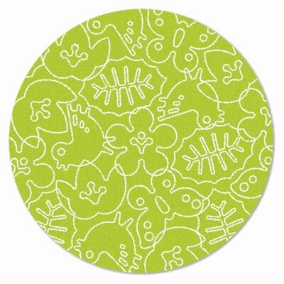 Season Lotus Green/White Area Rug Rug Size: Round 6