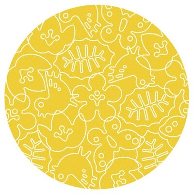 Season White/Canary Yellow Area Rug Rug Size: Round 6