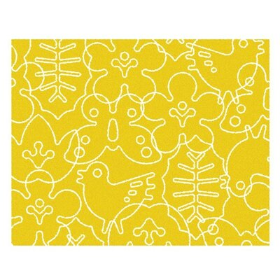 Season White/Canary Yellow Area Rug Rug Size: 4 x 5
