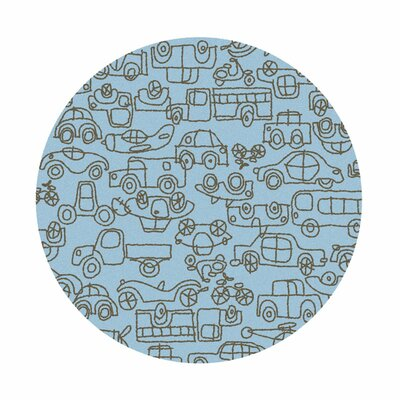 Kids Transport Ozone Blue/Sable Area Rug Rug Size: Round 6
