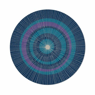 Eccentric Hand-Tufted Blue Area Rug Rug Size: Round 6