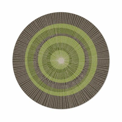 Eccentric Hand-Tufted Green/Sable Area Rug Rug Size: Round 6