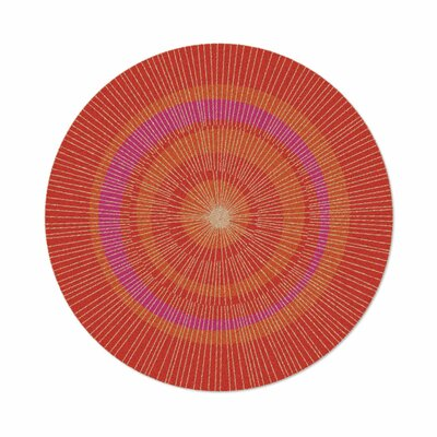Eccentric Hand-Tufted Orange/Red Area Rug Rug Size: Round 6