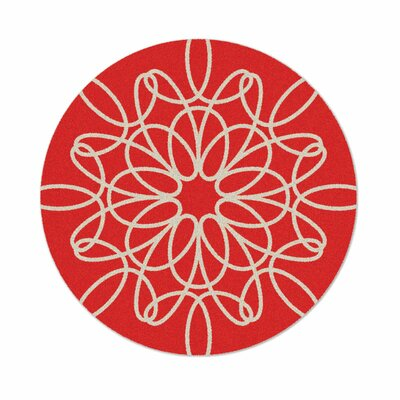 Ribbon Red Area Rug Rug Size: Round 6