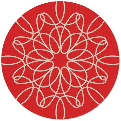 Ribbon Red/White Area Rug Rug Size: Round 8