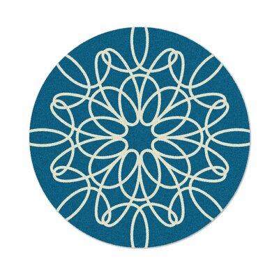 Ribbon Hand-Tufted Turquoise Area Rug Rug Size: Round 6