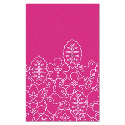 Season White/Pink Area Rug Rug Size: 4 x 5