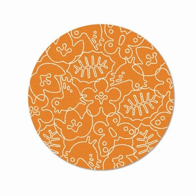 Season Persimmon Orange/White Area Rug Rug Size: Round 6