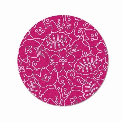 Season White/Pink Area Rug Rug Size: Round 6