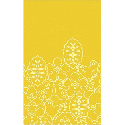 Season White/Canary Yellow Area Rug Rug Size: 5 x 8