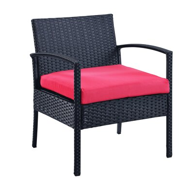 Giancarlo 3 Piece Lounge Seating Group with Cushion Fabric: Red