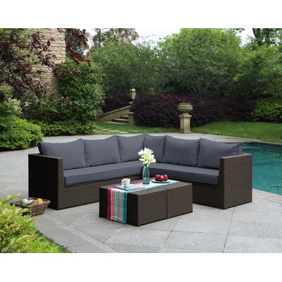 Morro Bay 3 Piece Deep Seating Group with Cushion Finish: Brown/Gray