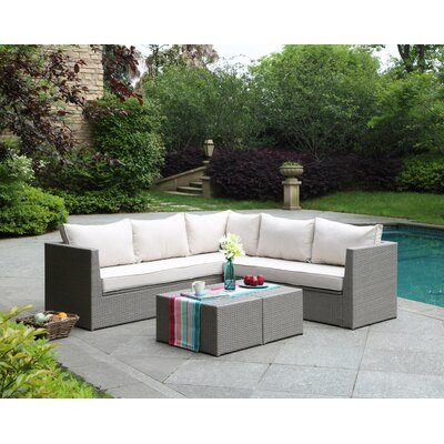 Morro Bay 3 Piece Deep Seating Group with Cushion Finish: Brushed Gray/Linen