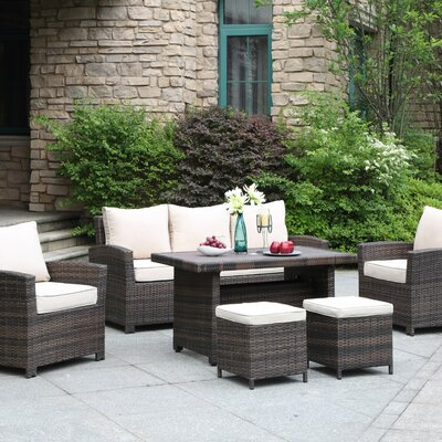 La Jolla Gathering 6 Piece Deep Seating Group Fabric: Tan