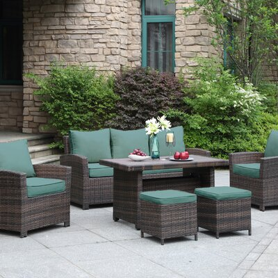 La Jolla Gathering 6 Piece Deep Seating Group Fabric: Green
