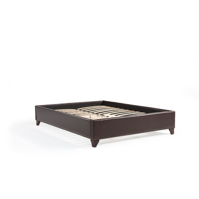 Paris Platform Bed Size: Eastern King, Upholstery Color: Vintage Brown Faux Leather