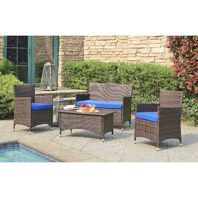Morrisania 4 Piece Seating Group with Cushion Fabric: Dark Navy Blue
