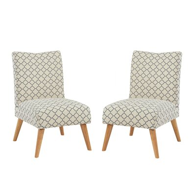 Beachmont Slipper Chair Upholstery: Linen Blue Lattice