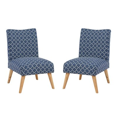 Beachmont Slipper Chair Upholstery: Navy Lattice