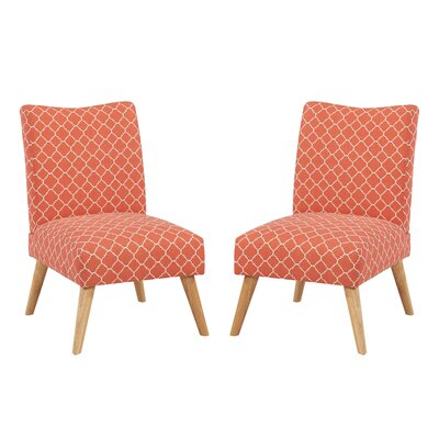 Beachmont Slipper Chair Upholstery: Soft Coral Lattice