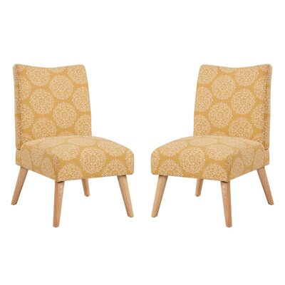 Jake Upholstered Parsons Chair Color: Mustard Medallion