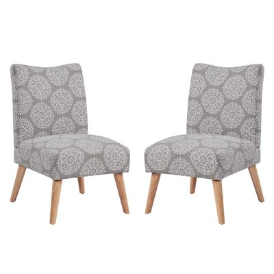 Jake Upholstered Parsons Chair Color: Gray Medallion