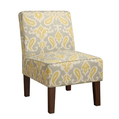 Henriques Slipper Chair Upholstery: Gray/Yellow Damask
