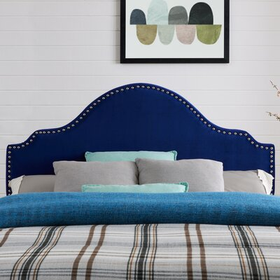 Leeds Upholstered Panel Headboard Upholstery: Sapphire Velvet, Size: King/California King