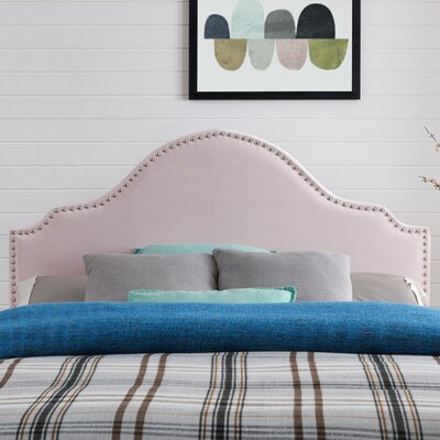 Leeds Upholstered Panel Headboard Upholstery: Blush Velvet, Size: Full/Queen