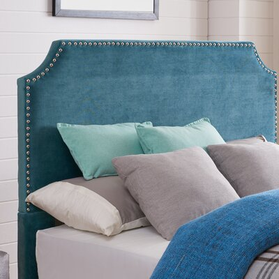 Hawtree Upholstered Panel Headboard Upholstery: Ice Blue Velvet, Size: Full/Queen