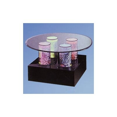 Aqua Coffee Table Shape: Round, Base Color: Black Acrylic, Lights: 4 LED Lights, Wheel: Color Wheel