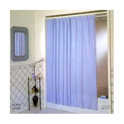 Vinyl Luxury Glitter Shower Curtain Color: Blue